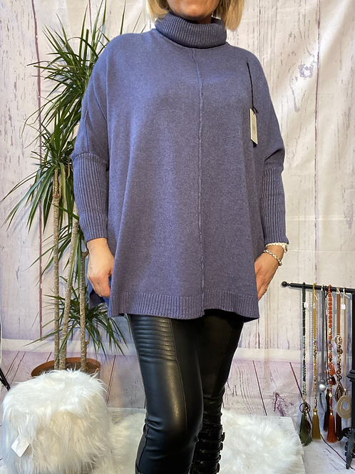 Denim roll neck oversized jumper, fitting up to a size 20.   9112