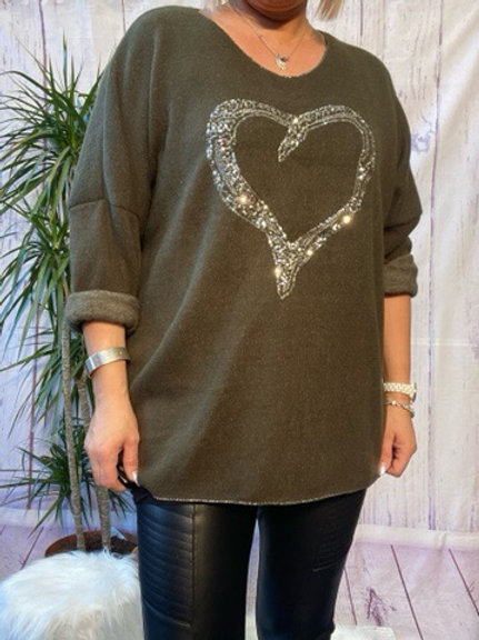 Khaki super soft sequin heart top, fitting up to a size 22.   5111