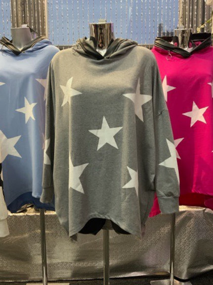 Grey stars hooded top fitting up to a size 24