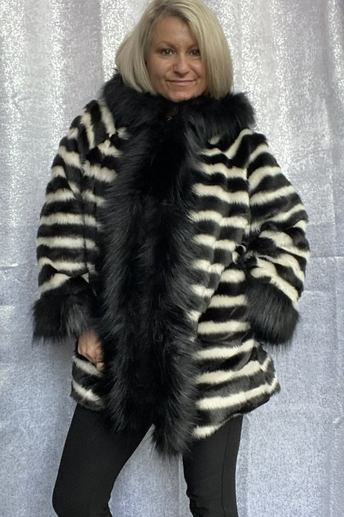 Zebra Black and white faux fur hooded coat fitting up to a size 16