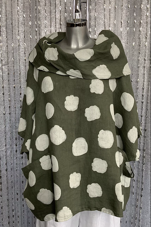 Khaki linen cowl neck spotty top fitting up to a size 24
