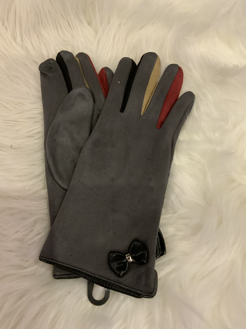 Charcoal super soft gloves with multi coloured finger inserts