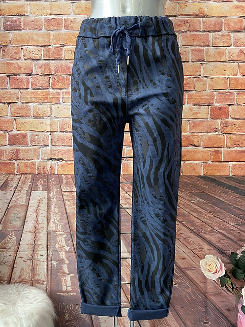 Navy Tiger print Magic  Stretch Trousers fitting 8-16