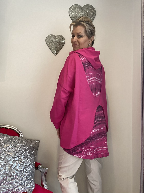Cerise  hooded quirky back Top fitting up to a size 22