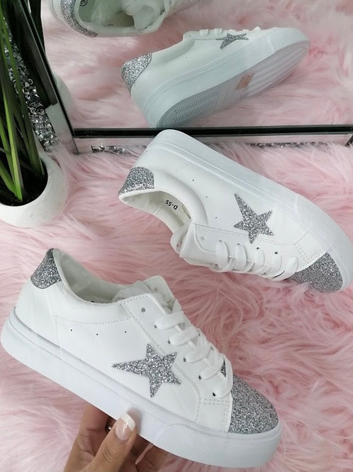 White with silver glitter star pumps