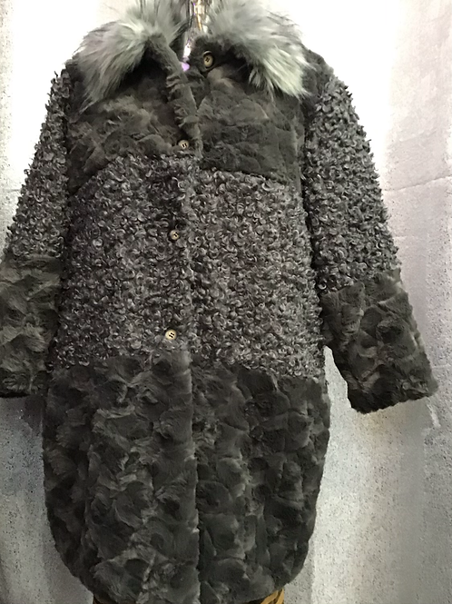 Charcoal faux fur and teddy coat, fitting up to a size 18