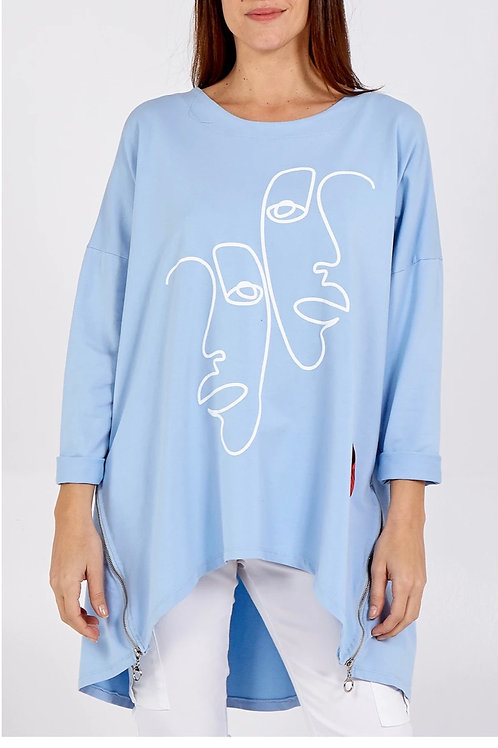 Powder Blue Picasso inspired quirky zip detail top