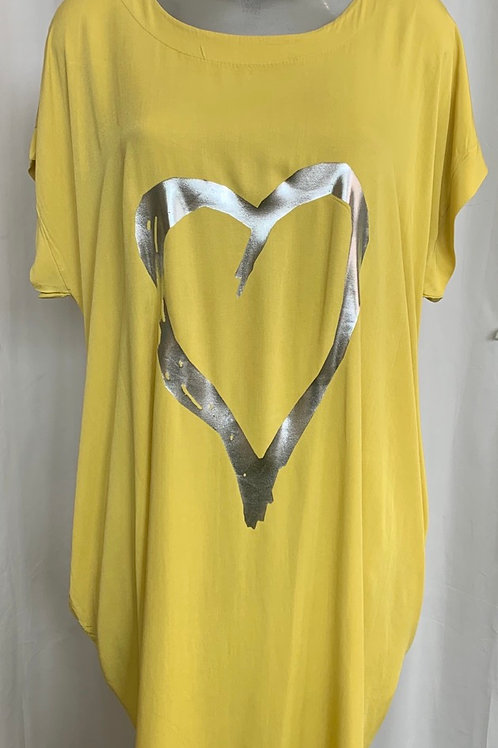Mustard foil Heart  Dress Fitting up to a size 24. 009