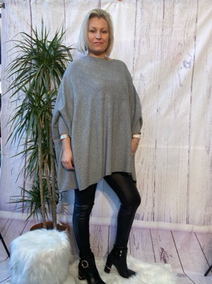 Grey tassel detail poncho jumper fitting up to a size 24 6111