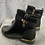 Thumbnail: Black patent and suede look ankle boot