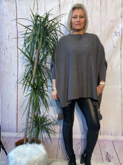 Charcoal tassel detail poncho jumper fitting up to a size 24 6111