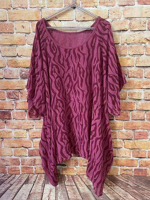 Raspberry and pink cotton top