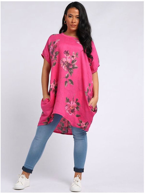 Cerise Italian Floral Linen oversized tunic fitting size 18-26