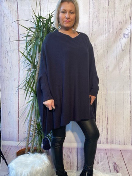 Navy tassel detail poncho jumper fitting up to a size 24 6111