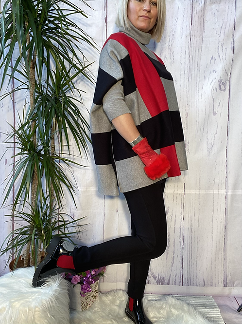 Oversized split sided roll neck jumper, fitting up to a size 22