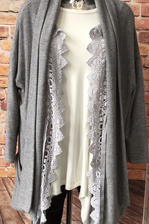 Grey Cardigan with lace style inlay
