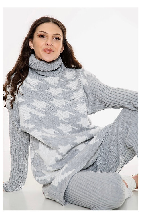 Houndstooth grey knitted lounge wear set 💕 fitting 10-16