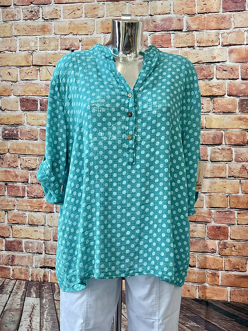 Teal Polka Dot cotton top, fitting up to a size 18