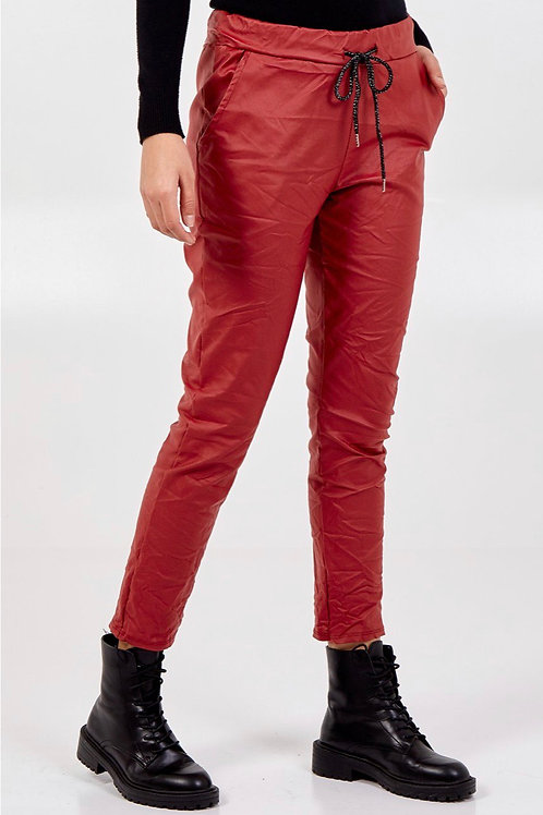 Wine leather look magic pants, fitting from a 10-14