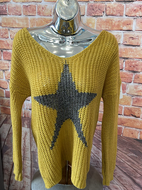 Mustard chunky knit star jumper, fits sizes up to 14