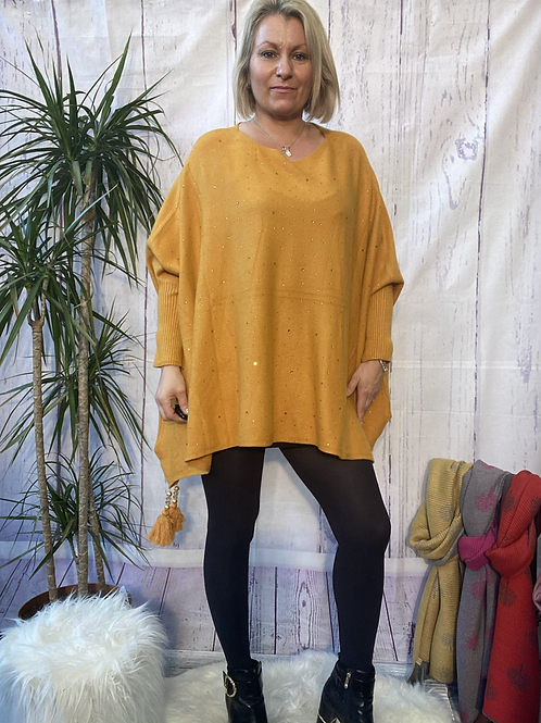 Mustard diamanté poncho style jumper, fitting up to a 24.    5559