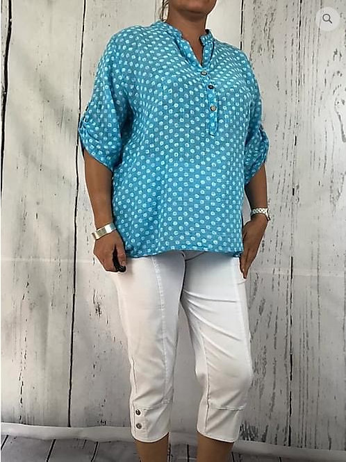 Turquoise  Dotty Cotton Blouse, Fitting up to a size 18