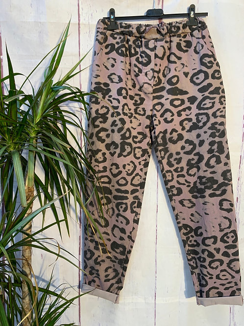 Lilac bold Leopard print magic joggers, fitting from a size 10-20.     20377