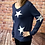 Thumbnail: Navy knitted star pattern jumper, fitting sizes 8-12