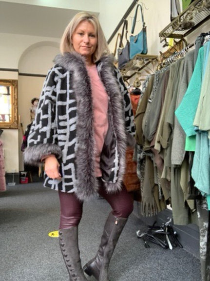Black and Grey faux fur trim hooded coat fitting up to a size 16