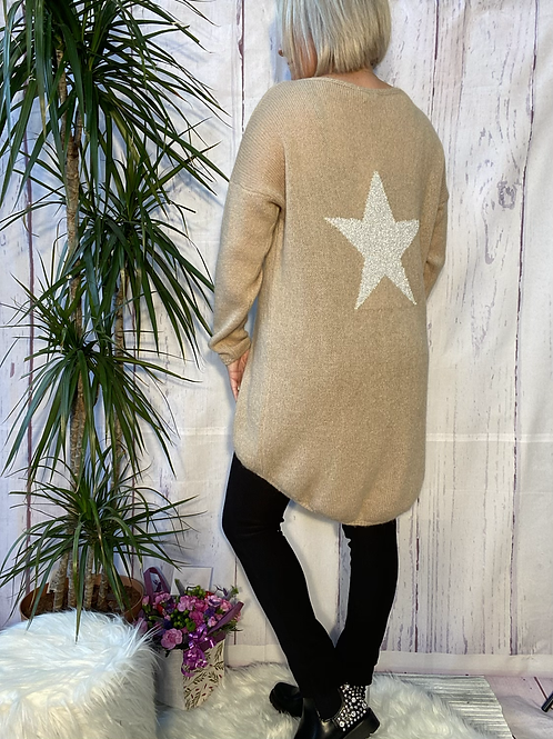 Mocha Mohair star high low jumper, fitting up to a size 18.   2708