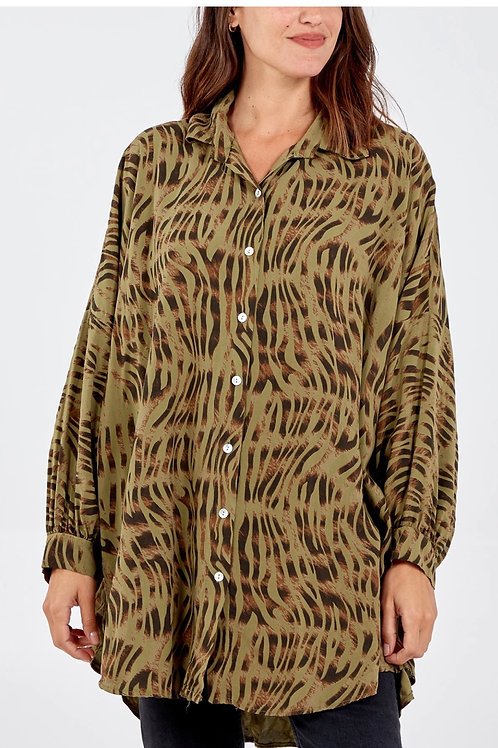 Khaki Animal print over sized shirt fitting from 16 to 24
