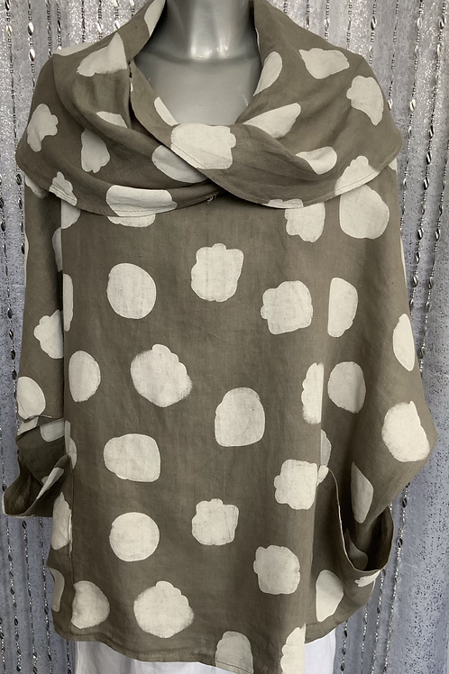 Beige linen cowl neck spotty top fitting up to a size 24