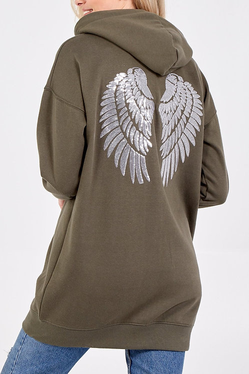 Long length khaki Angel Wings Hoodie