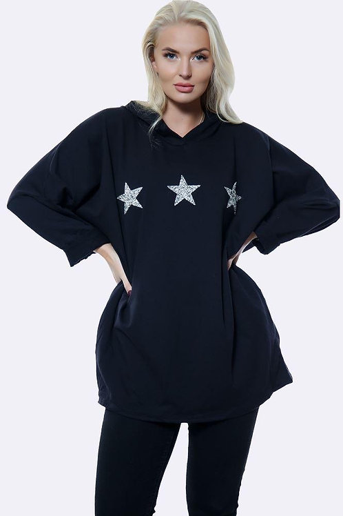 Navy Italian 3 Diamante Star Motif Hoodie Top fitting up to size 16.  5112