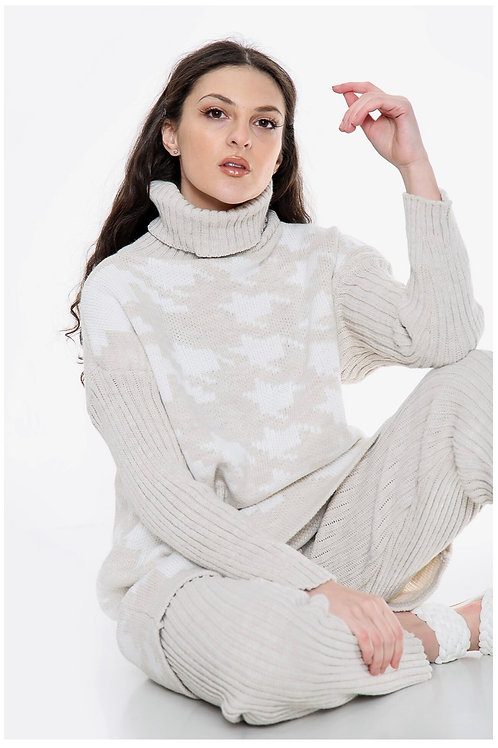 Houndstooth cream knitted lounge wear set 💕 fitting 10-16
