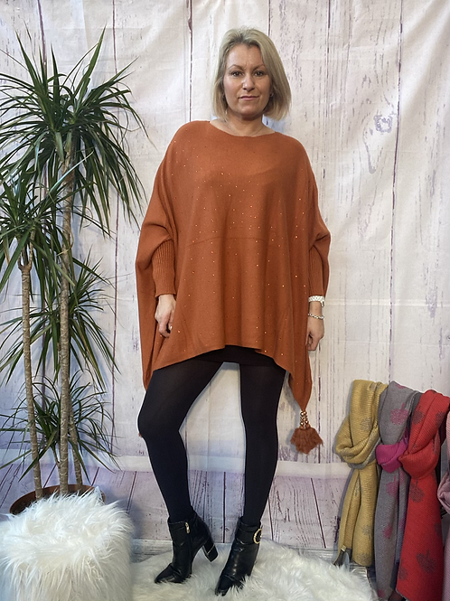 Rust diamanté poncho style jumper, fitting up to a 24.    5559