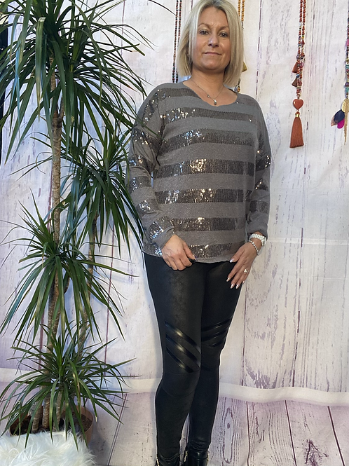 Grey stretch sparkly top, fitting up to a size 14.