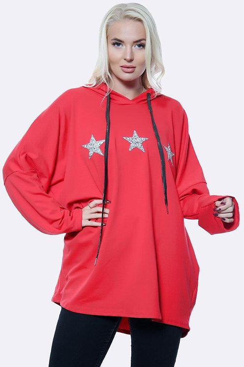 Red Italian 3 Diamante Star Motif Hoodie Top fitting up to size 16.   5112