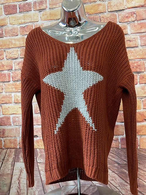 Rust chunky knit star jumper, fits sizes up to 14