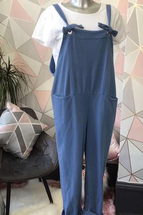 Blue Italian Front Pockets Cotton  Dungaree