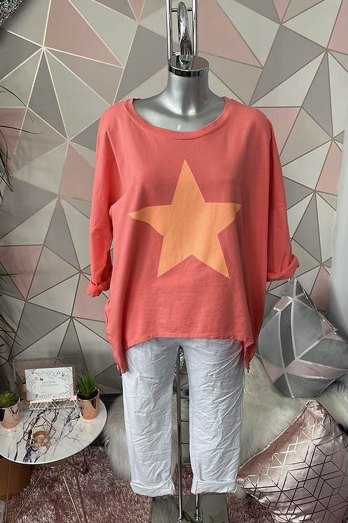 Coral Neon Star top, fitting up to a size 14