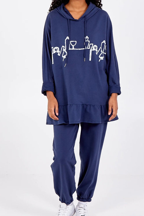 Navy Abstract Sweatshirt & Jogger Lounge Set fitting up to a size 22