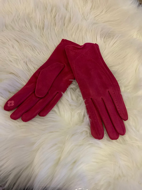 Cerise super soft gloves with stitching detail.