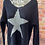Thumbnail: Navy chunky knit star jumper, fits sizes up to 14