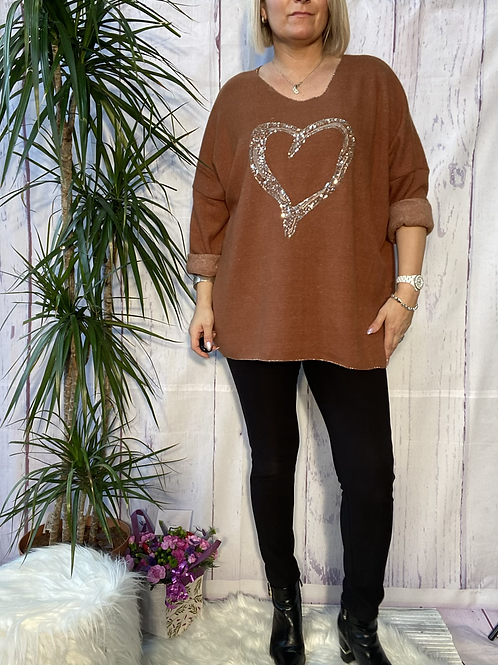Tan super soft sequin heart top, fitting up to a size 22.   5111