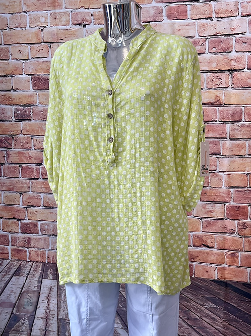 Lime Polka Dot cotton top, fitting up to a size 18