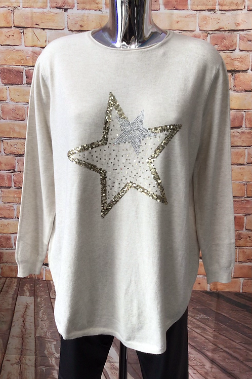 Cream Star in a Star soft knit jumper, fits sizes 12-18