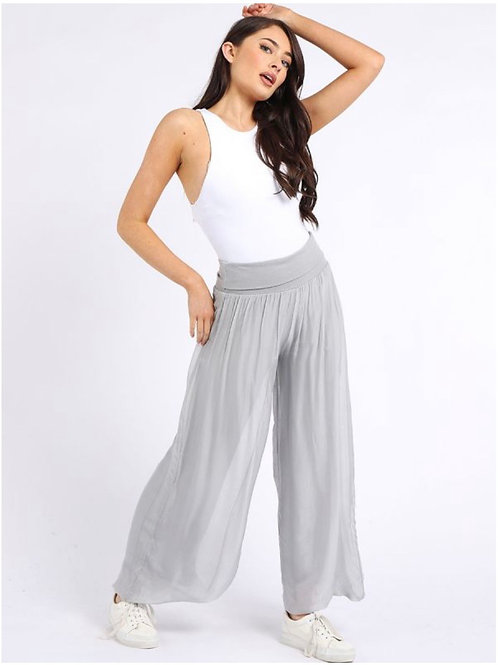 Silver grey Made in Italy Plain Classy Silk Palazzo Pant