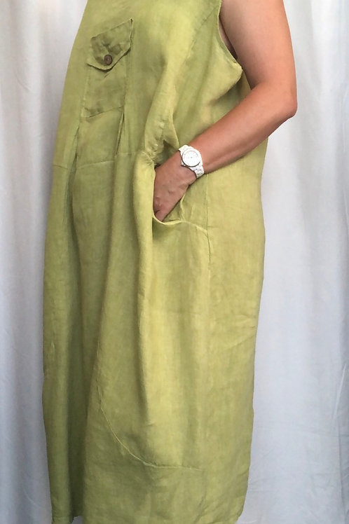 Lime Linen Dress fitting up to a 24