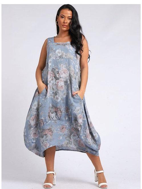 Denim Italian Square Neck Floral Print Sleeveless Linen Dress, Size 16-24